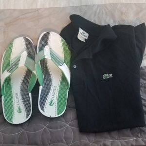 Lacoste men slides w/a black lacoste polo shirt.